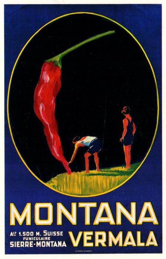 Affiche-pour-lOffice-du-Tourisme-de-Montana-1926-au-piment-rouge